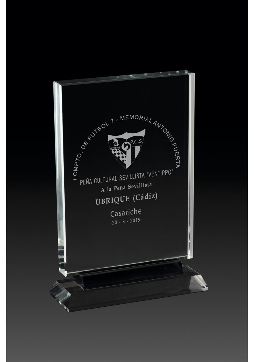 Rectangular glass trophy