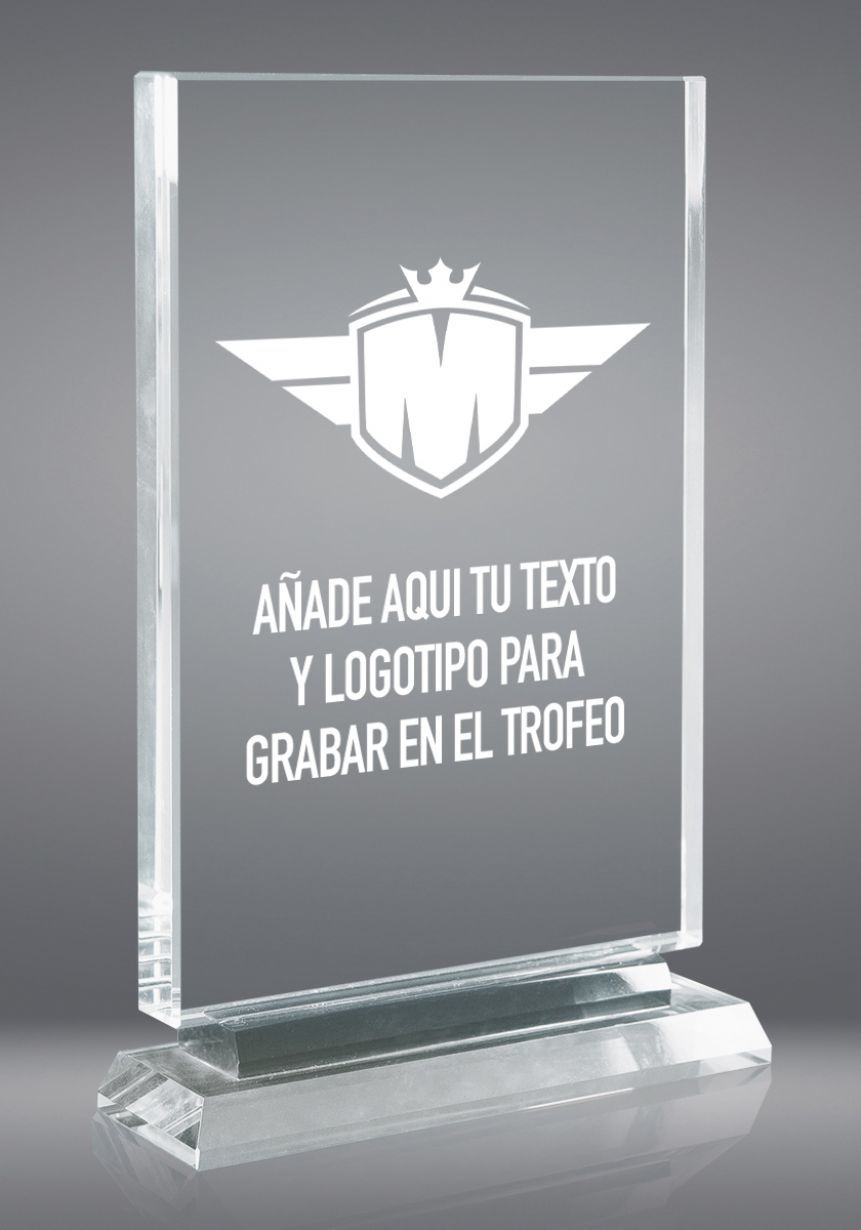 Trofeo in vetro di forma rettangolare