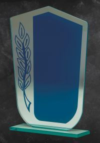 Wedge blue glass trophy