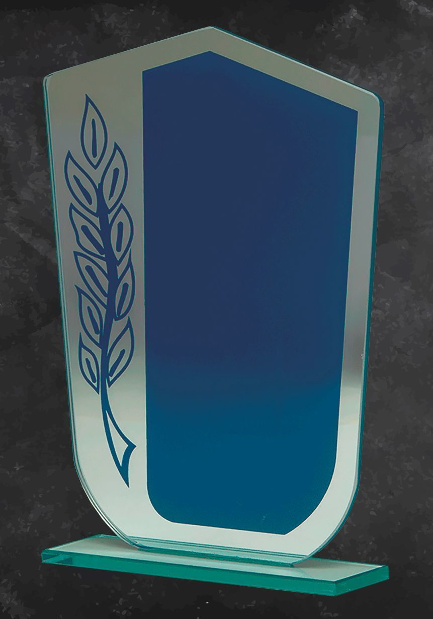 Wedge blue glass trophy