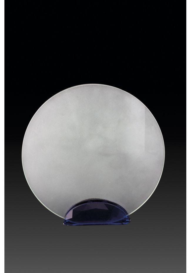 Trofeo de cristal circular azul impreso color
