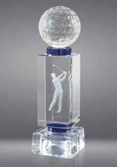 Trofeo de cristal con pelota deportiva Thumb
