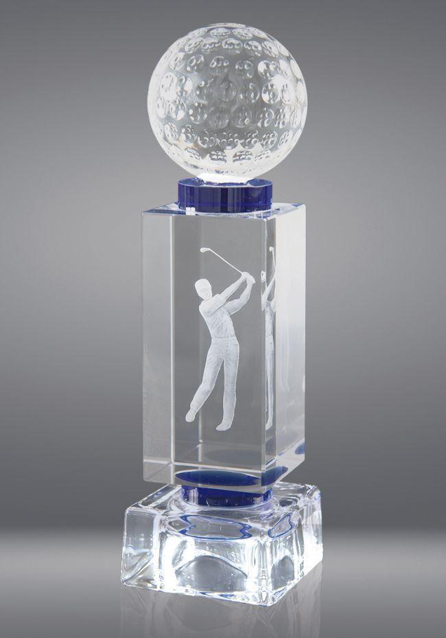 Trofeo de cristal con pelota deportiva