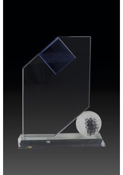 Trofeo de cristal forma vela y aplique pelota Thumb