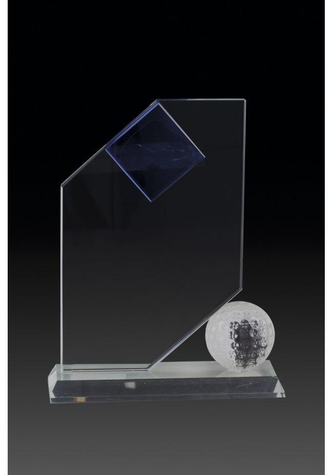 Trofeo de cristal forma vela y aplique pelota