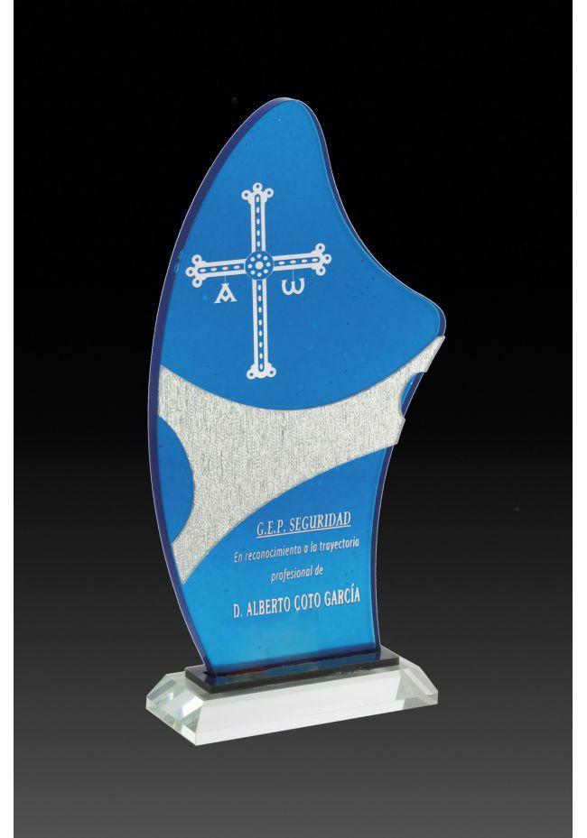 Trofeo de metacrilato forma vela con color azul