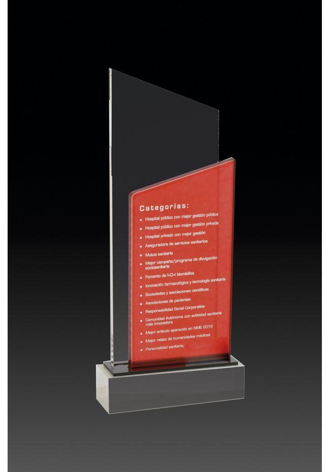 Trofeo de metacrilato doble cuña color rojo