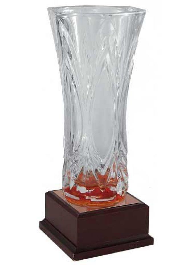 Trofeo jarrón de cristal hoja mate