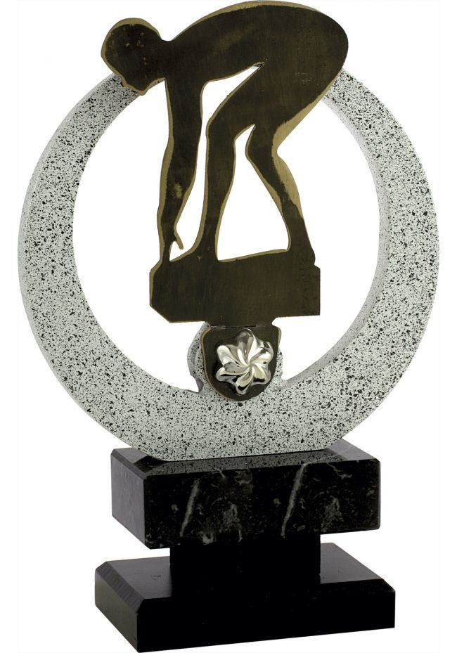 Trofeo Natación circular aplique metal