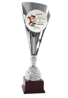 Trofeo copa plata corte cónico para añadir imágen Thumb