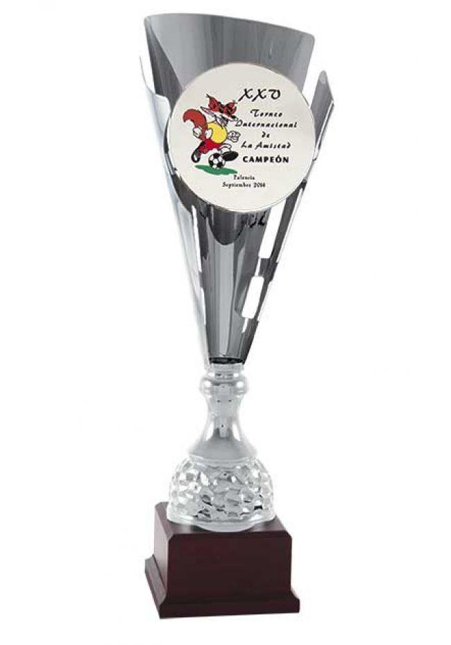 Trofeo copa plata corte cónico para añadir imágen