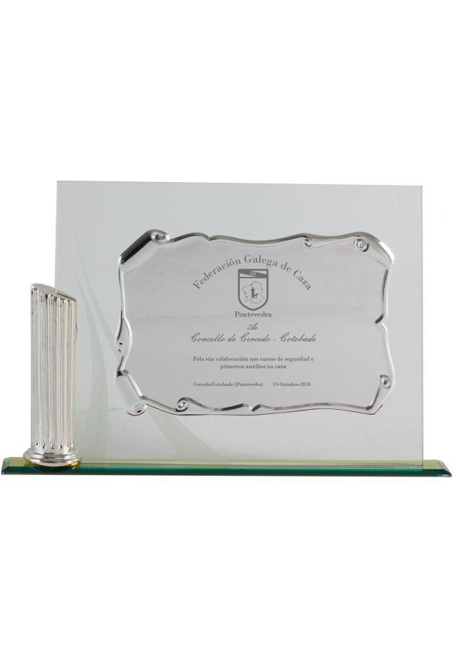 Placa de homenaje detalle columna placa
