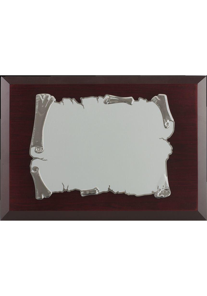 Placa de homenaje pergamino plateado sublimación color