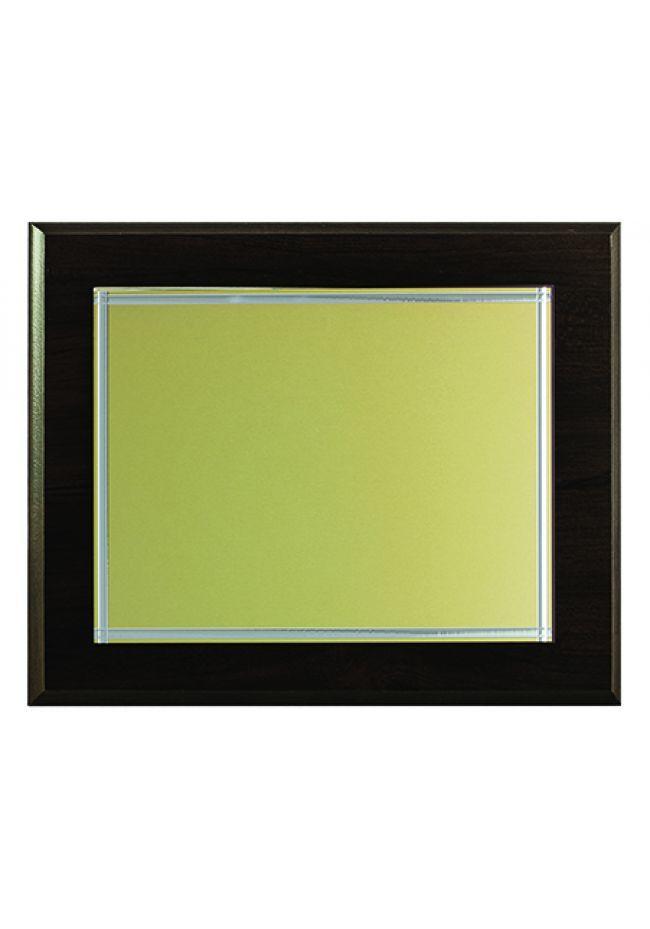 Placa de homenaje biselado dorado impresión color