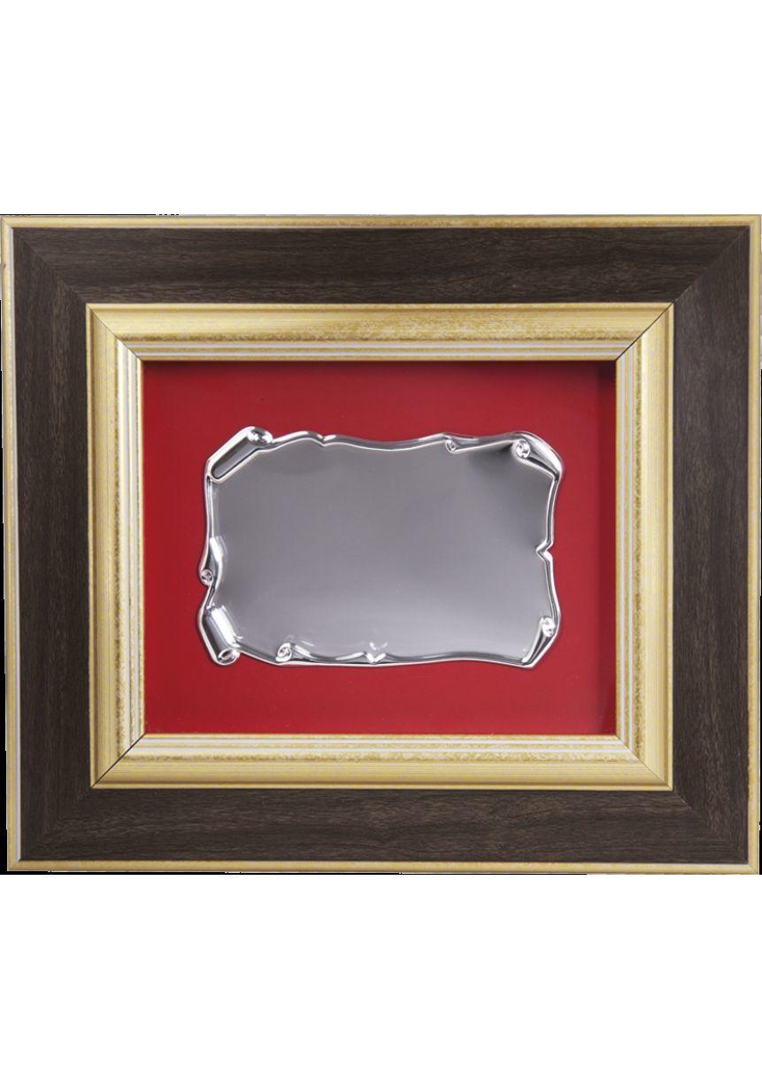 Placa de homenaje con forma rectangular madera placa aluminio