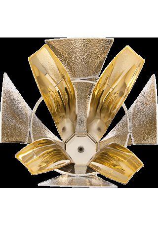 Trofeo copa de diseño con dos piezas en oro y plata