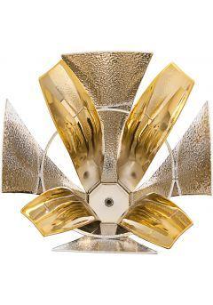 Trofeo copa de diseño con dos piezas en oro y plata Thumb