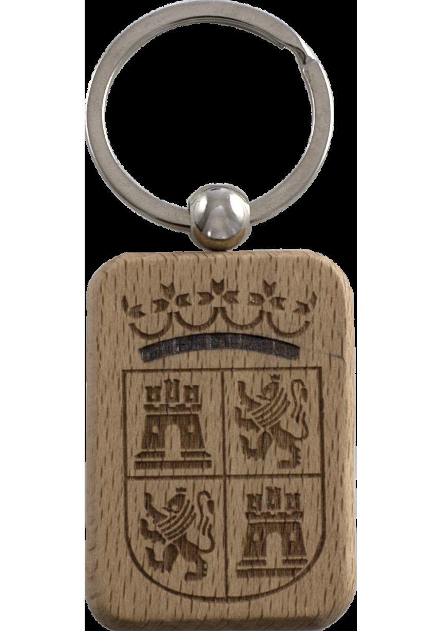 Llavero rectangular madera