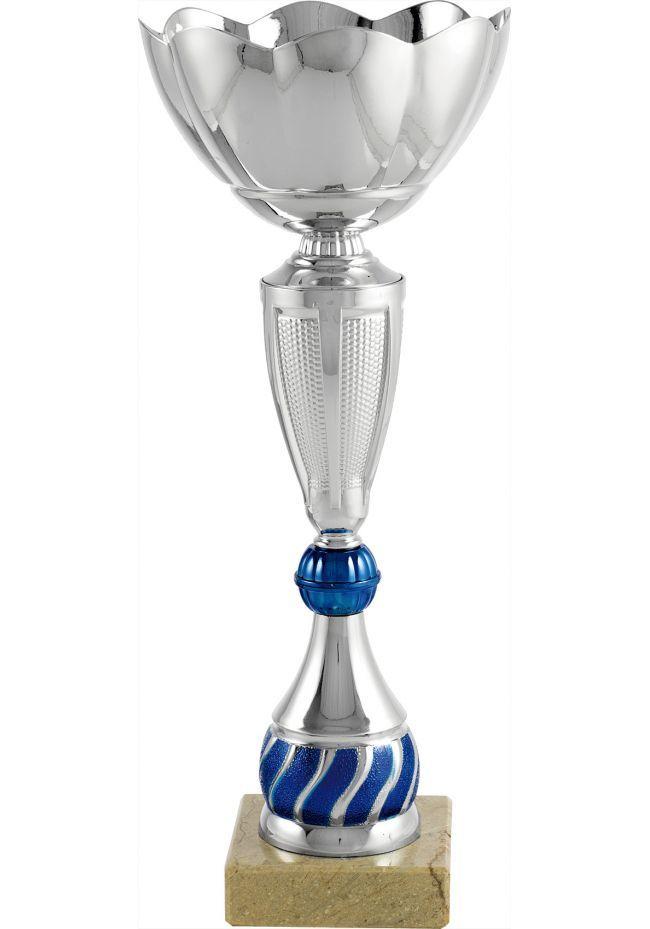 Trofeo copa cáliz bola central azul