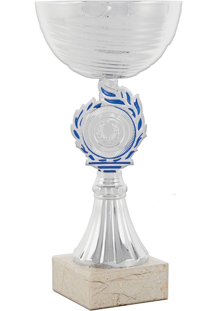 Trofeo copa abstracta plata-azul