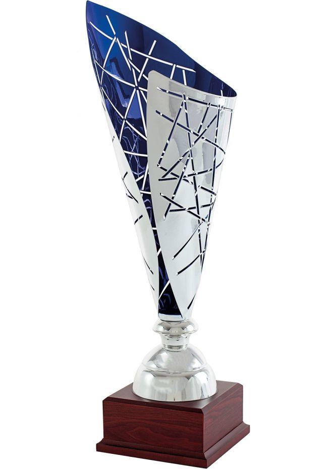 Trofeo copa cono stelo plata/azul