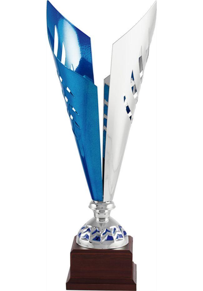 Trofeo copa corte dos hojas plata/azul