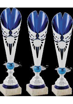 Trofeo copa semiabierta hoja bicolor plata/azul
