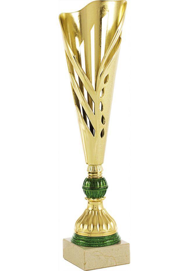 Trofeo copa semiabierta hoja dorado
