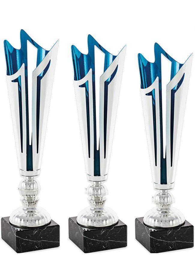 Trofeo copa corte dos hojas plata azul