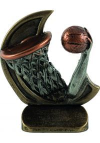 Resin sports trophy in basketball
