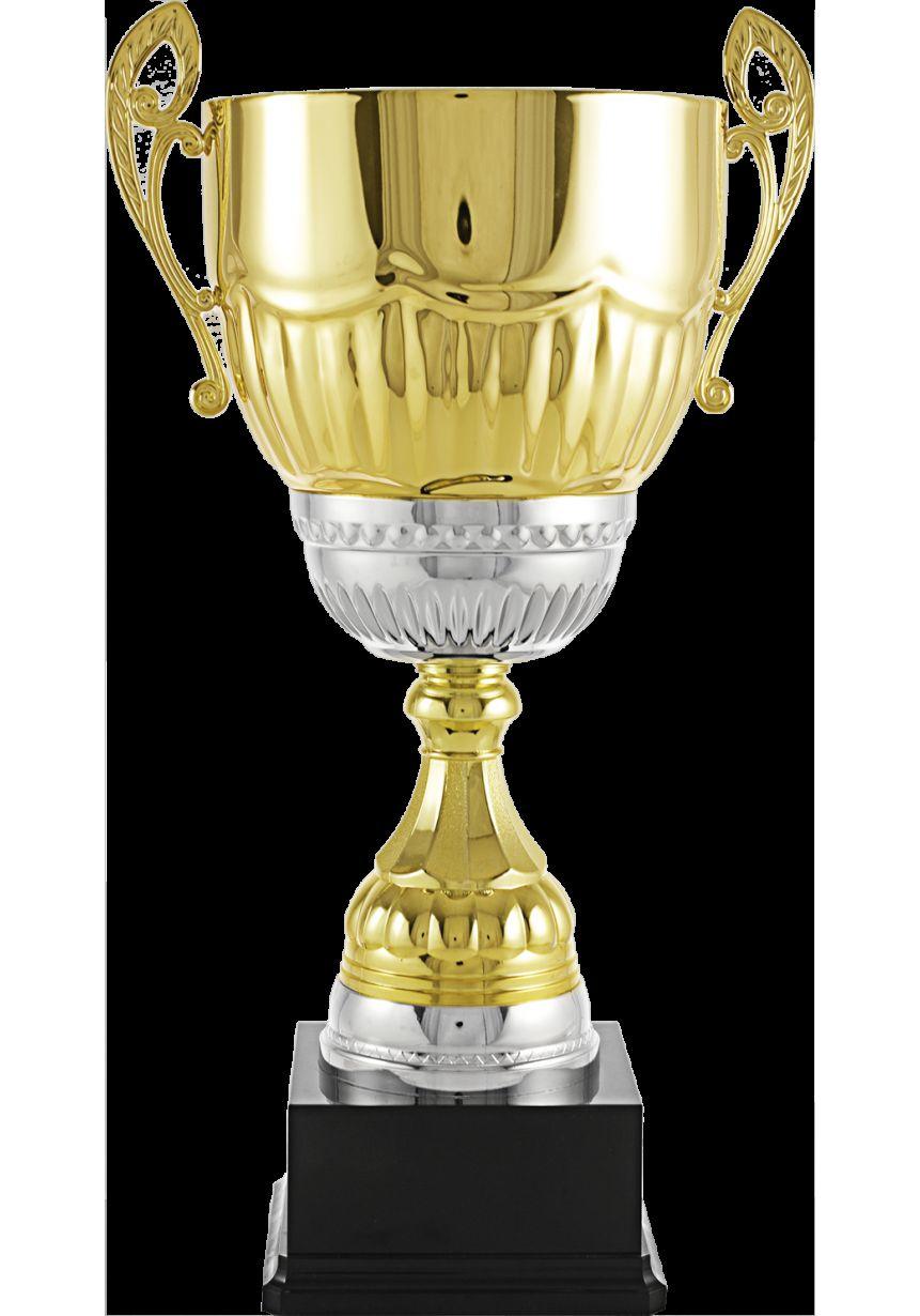 Trofeo copa 3/4 con asas color oro/plata