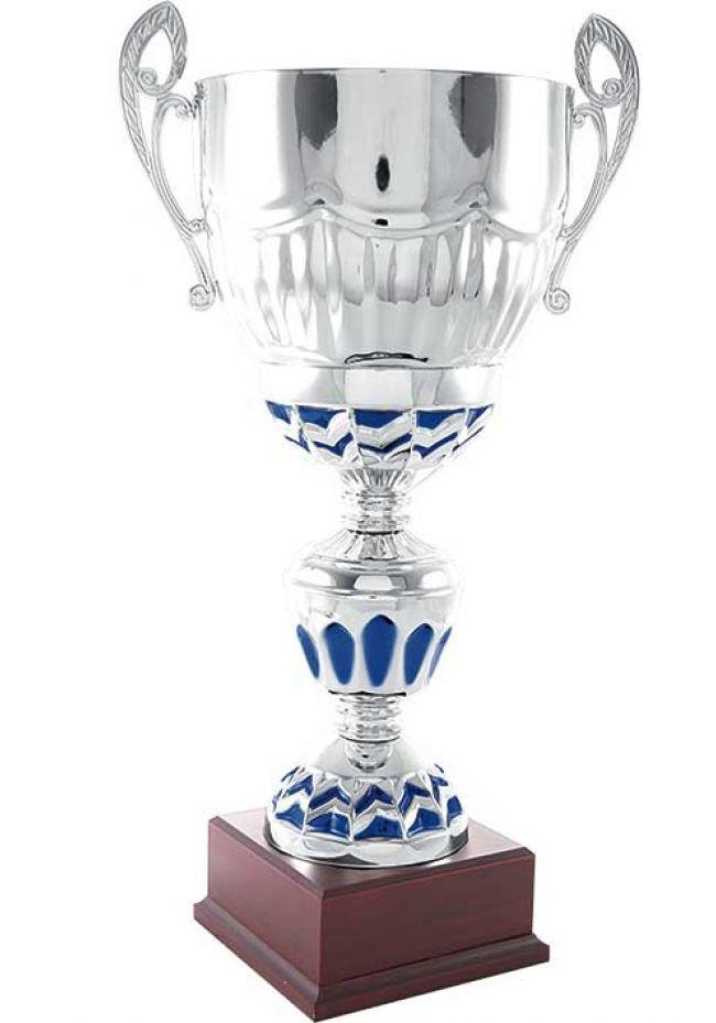 Trofeo copa bicolor azul y plata