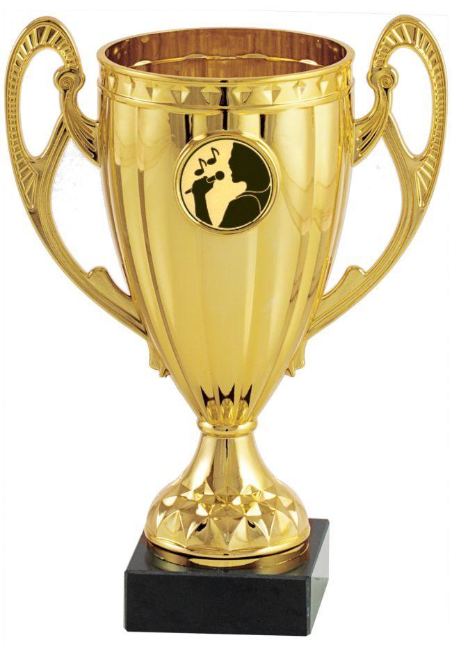 Trofeo dorado con disco para karaoke