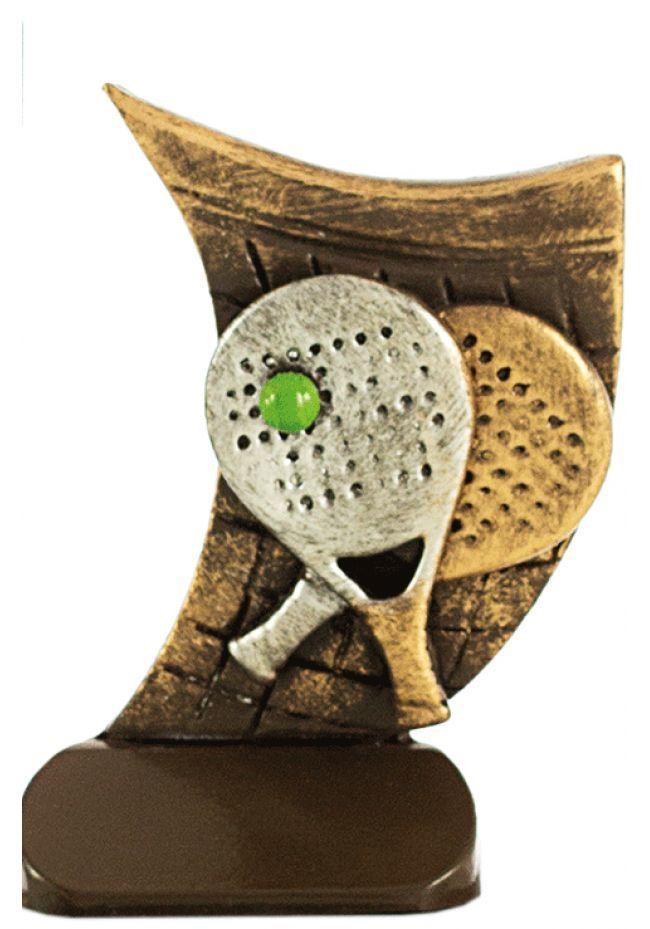 Trofeo deportivo en resina dos raquetas pádel