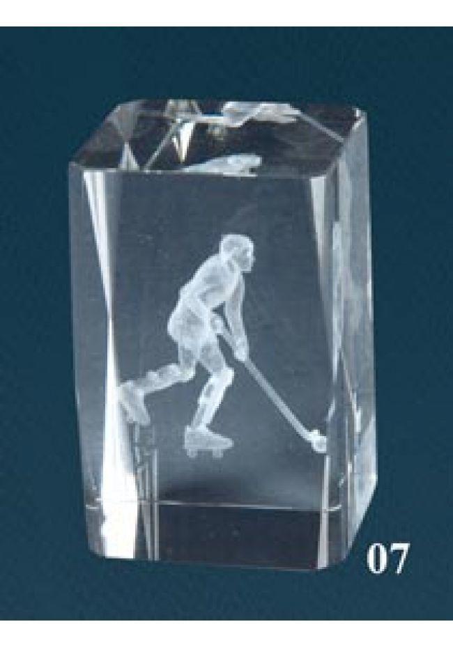 Trofeo cristal 3D Jugador Hockey