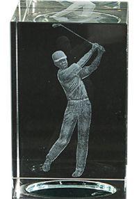Trofeo cristal 3D Jugador Golf Masculino