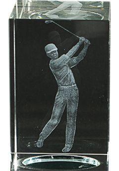 Trofeo cristal 3D Jugador Golf Masculino  Thumb