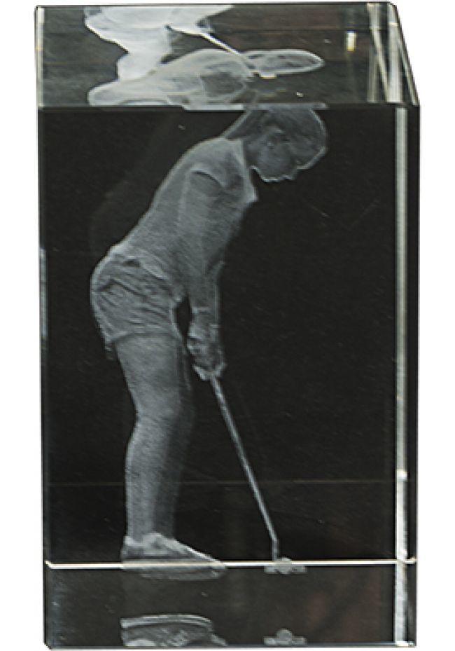 3D crystal trophy Female Golf Player