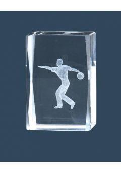 Trofeo cristal 3D Jugador Bolos