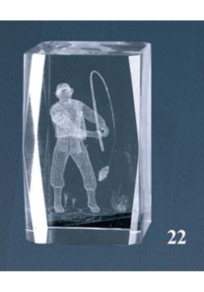 Trofeo cristal 3D Pesca