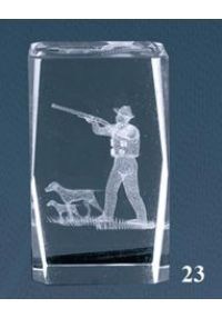 Trofeo cristal 3D Caza