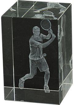 Trofeo cristal 3D Jugador Tenis-1