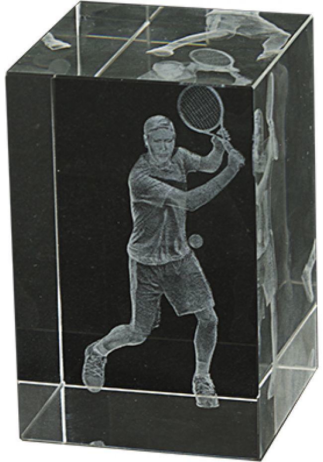 Trofeo cristal 3D Jugador Tenis