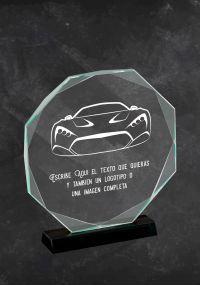 Trofeo de coches en cristal