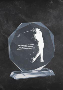 trofeo de cristal de golf con silueta