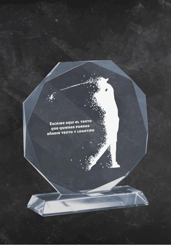 Trofeo en cristal con silueta de Golfista