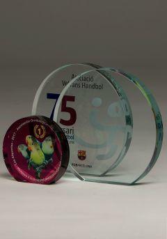 Trofeo de cristal circular Color