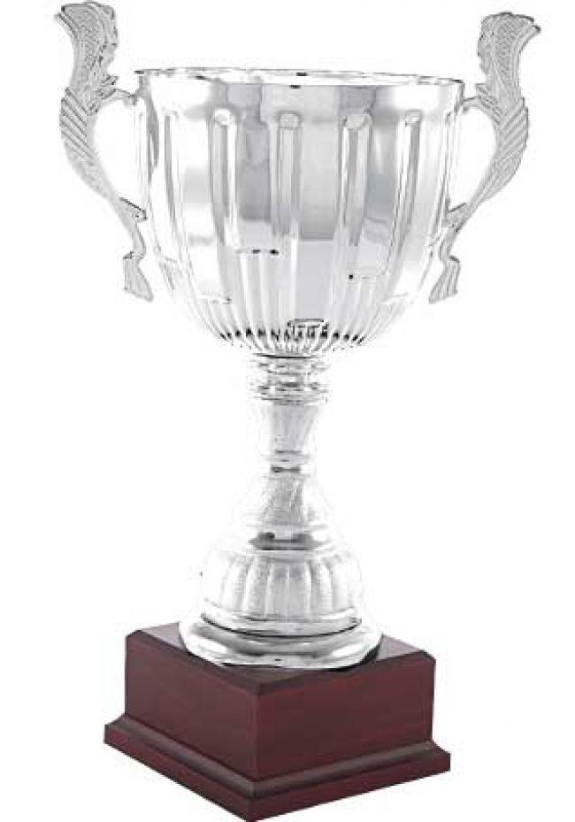 Trofeo copa doble aro con asas.