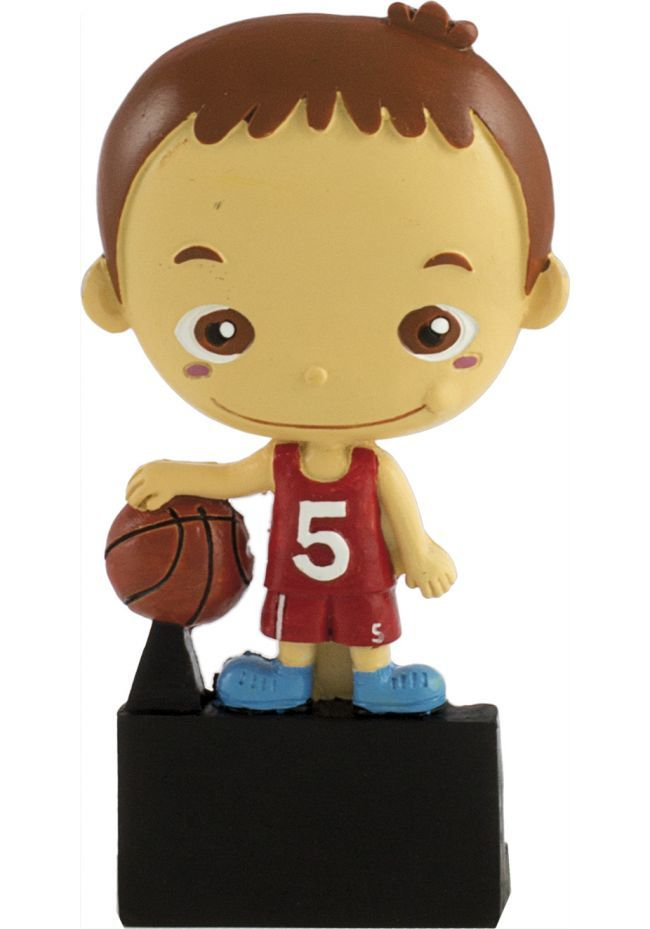 Sports trophy with basketball doll
