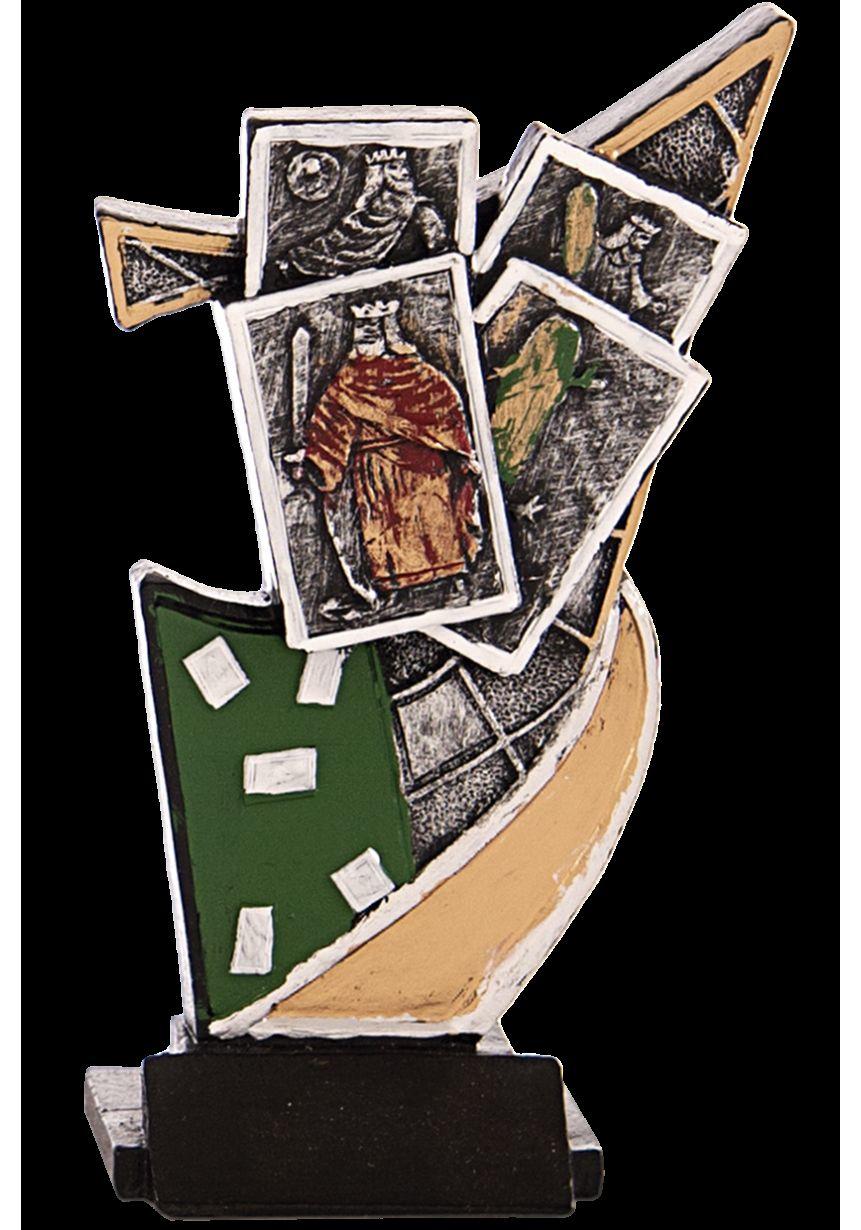 Trofeo resina aplique cartas